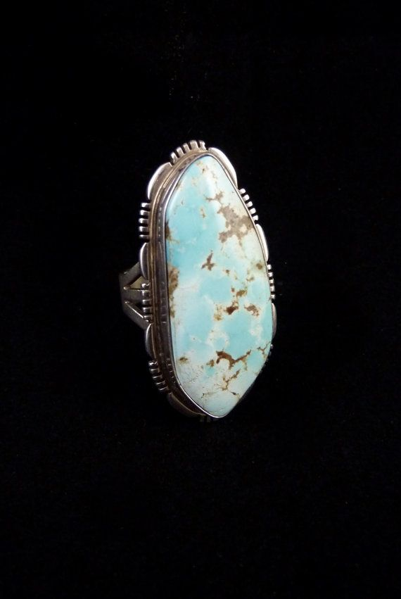 Sz 9 Vintage Navajo Sterling Silver Ring w Hauntingly Pale PALE Blue Dry Creek Turquoise! What a Stunning Masterpiece!