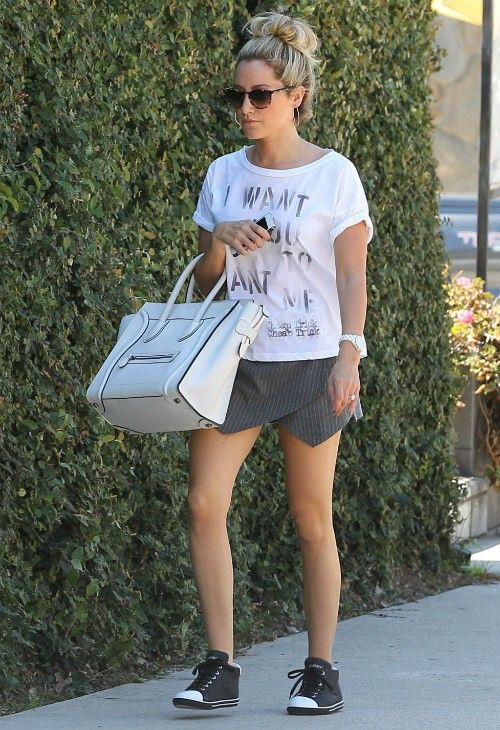 Ashley Tisdale wearing Chanel J12 Watch Celine Boston Bag Chaser Want You Want Me Boxy Tee Los Angeles September 12 2013