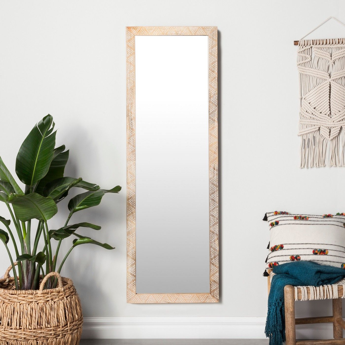 Carved Dot Natural Wood Floor Mirror Opalhouse With Images