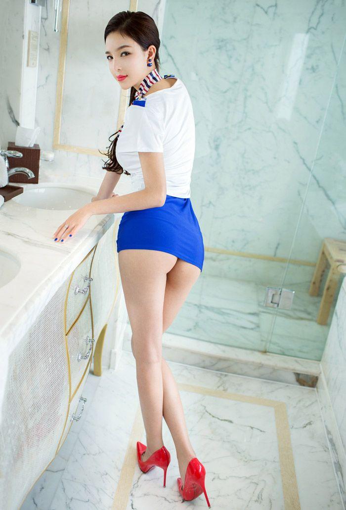 兔女郎郑瑞熙蓝领制服性感美图