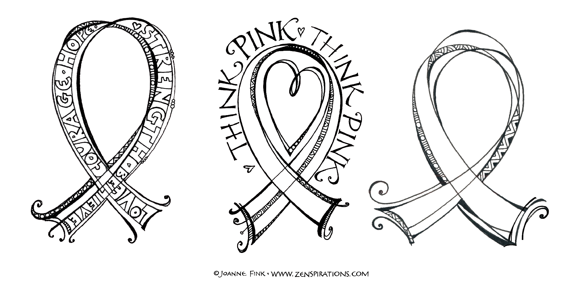 Zenspirations blog think pink free downloadable coloring pages