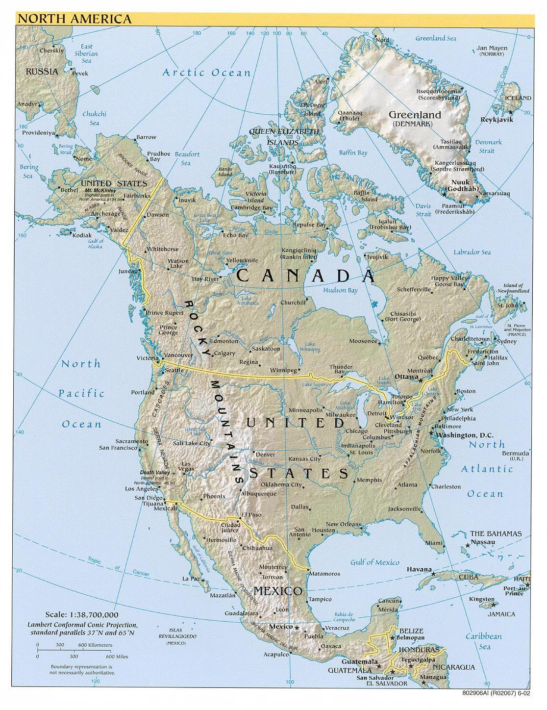 Mapa Fisico De America Del Norte Continentes America Do Norte