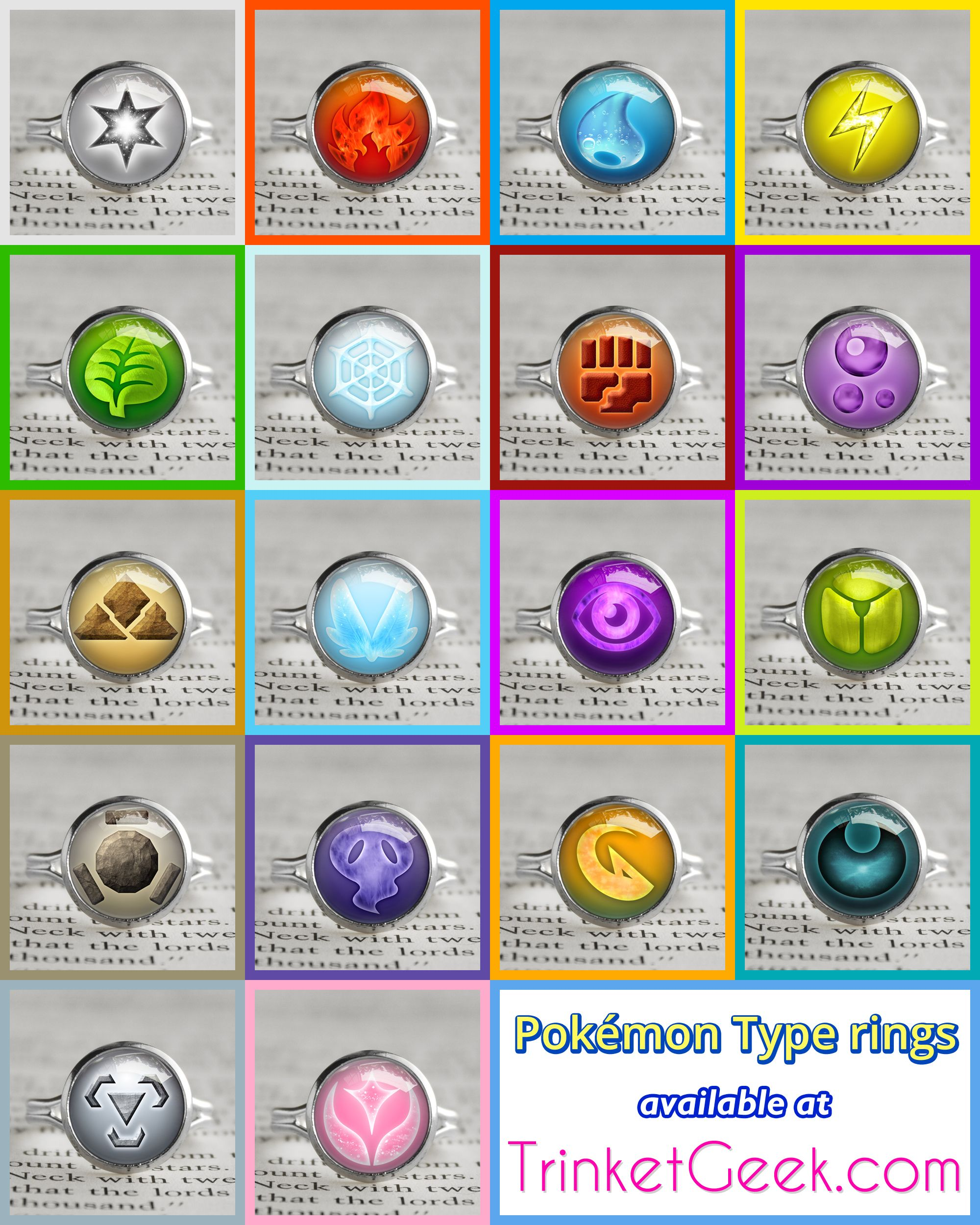 Pokemon Type rings. #kanto #gaming #treatsforgeeks