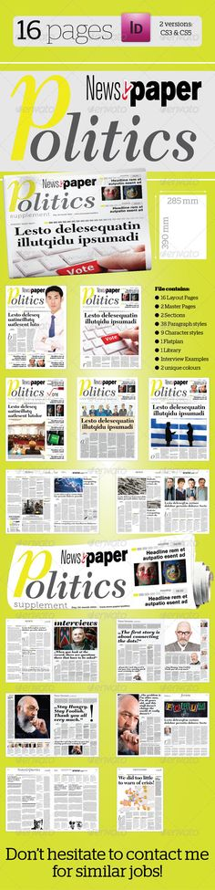 Pages Politics Supplement For NewsPaper Newspaper Print - Paper newsletter templates