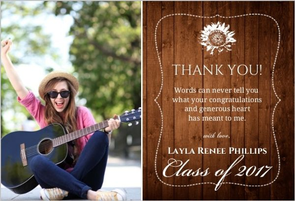 Rustic Wood Grain Collage Thank You Card Graduation Thank You Cards Graduation Thank You Cards Thank You Card Wording Thank You Card Sayings