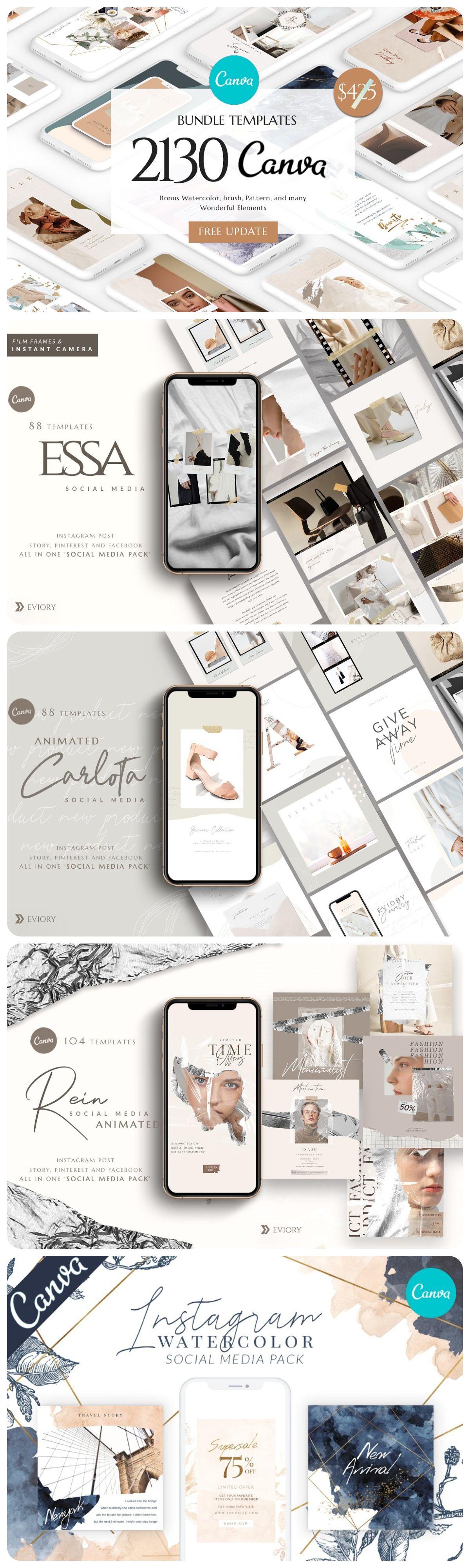 CANVA Bundle Social Media Pack in 2020 Social media pack