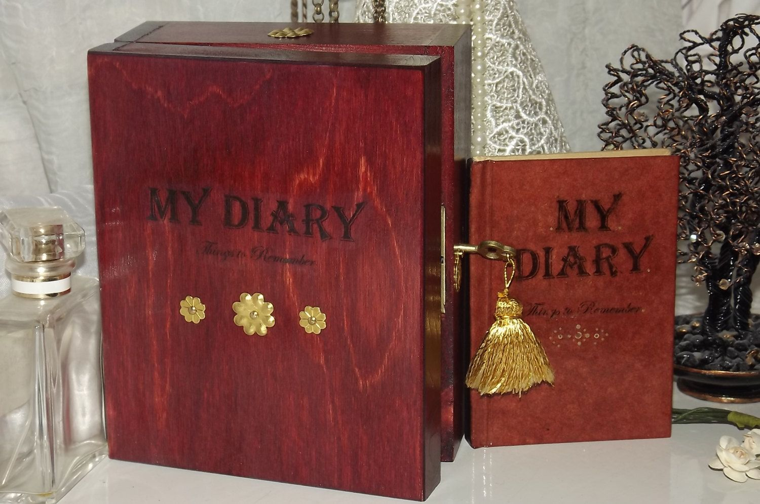 Diary Lock Box. Shabby Chic PERSONALISED unique Gift Set. LOCKABLE ...