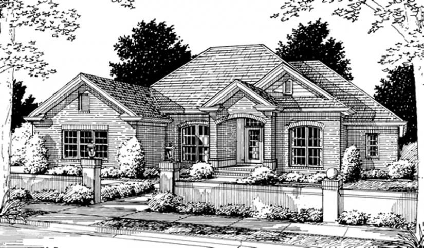 655799 - 1 story traditional 4 bedroom 3 bath plan with 3 car ...