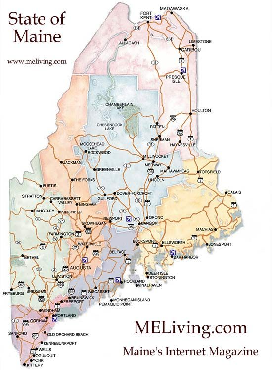 Maine Map Maine Road Map Free Maine Map Maine Map Cabin In Maine