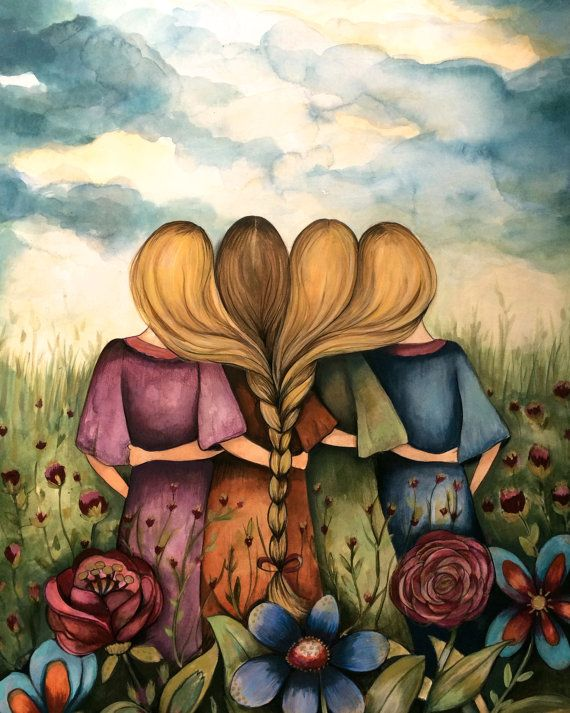 Sibling Gift The Four Sisters Best Friendsbridesmaids Present Art