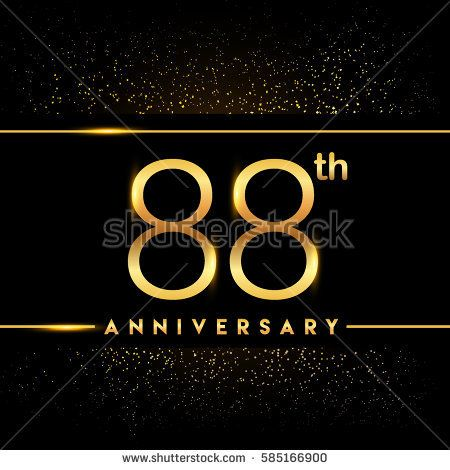 eighty eight years anniversary celebration logotype. 88th anniversary logo with confetti golden colored isolated on black background, vector design for greeting card and invitation card