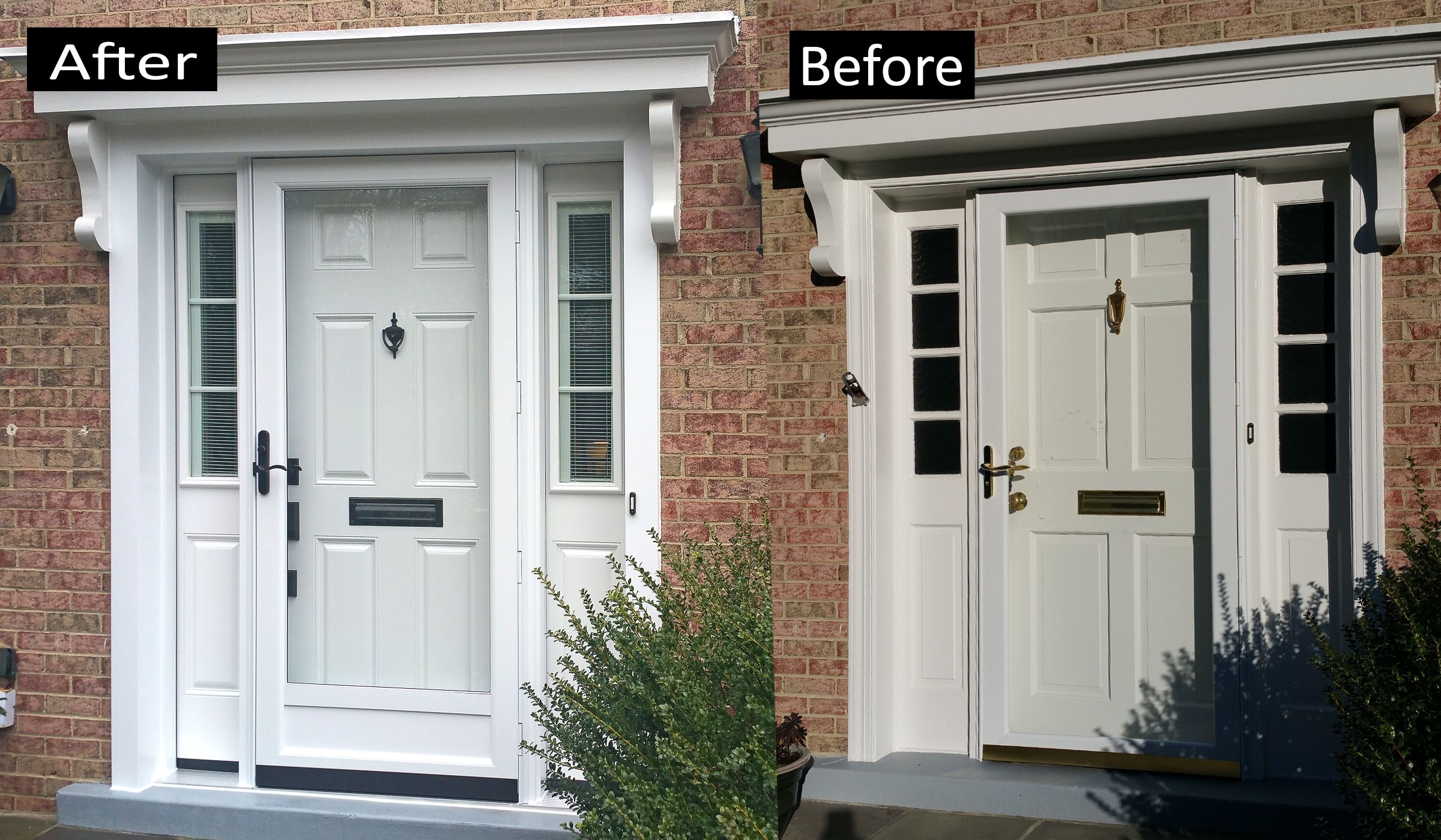 ProVia Heritage Smooth Fiberglass Door With Matching Side Lites. Internal  Blind, Laminated Glass.