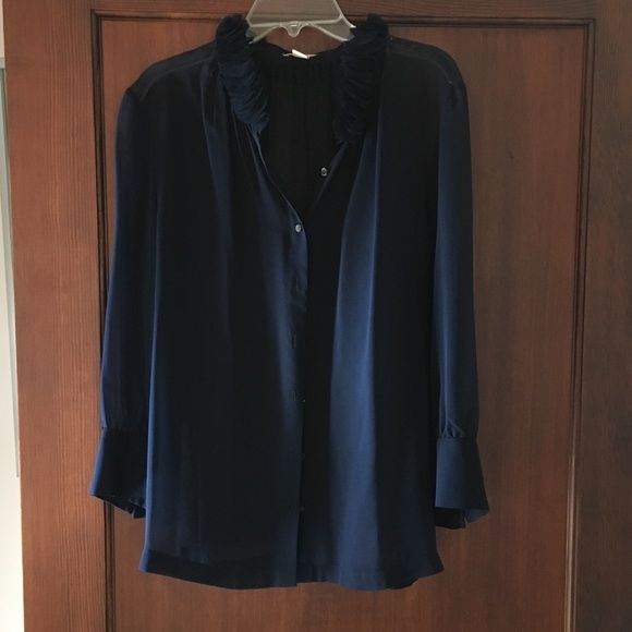 JCrew Sheer Navy Blouse Size 8 Worn once, sheer navy silk blouse with ruffle collar. J. Crew Tops Blouses