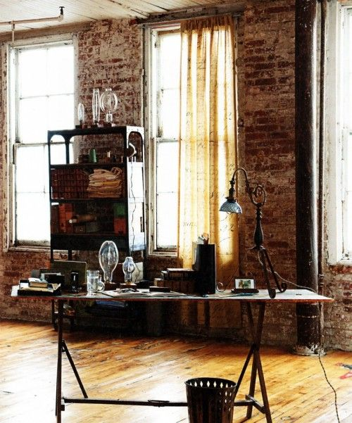 Distressed Brick Wall   Absolutely Amazing · Industrial Interior DesignIndustrial  ...