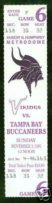 November 3 1991 Minnesota Vikings vs Tampa Bay Buccaneers Full Ticket Free SHIP | eBay