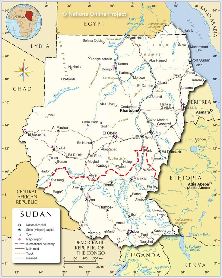 The red line shows where the border between Sudan and South Sudan