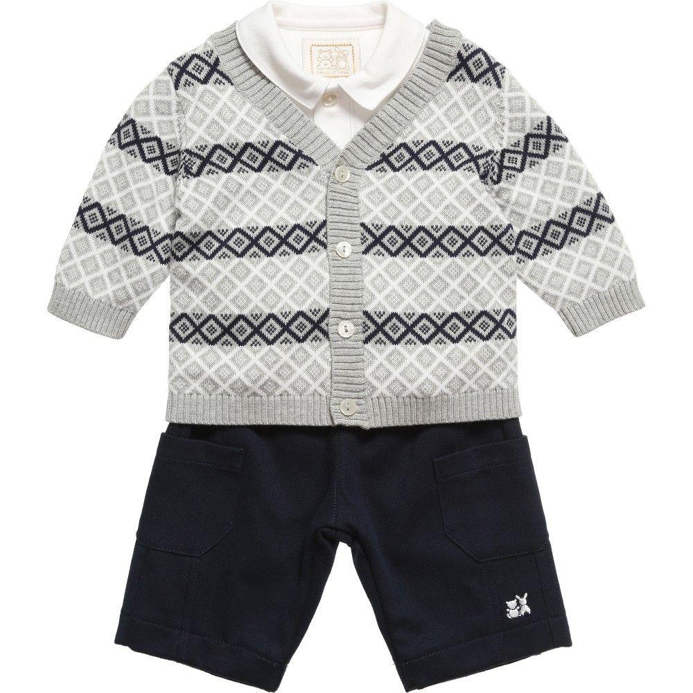 Emile et Rose Grey and Navy Blue 'Davis' Cardigan, Bodyvest and Trousers Set at Childrensalon.com