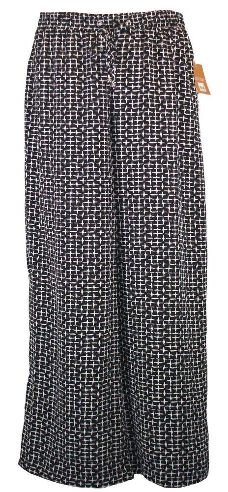 NEW Ellen Tracy Womens Pants Wide Leg Palazzo Relaxed Fit Drawstring Black Sz S #EllenTracy #CasualPants