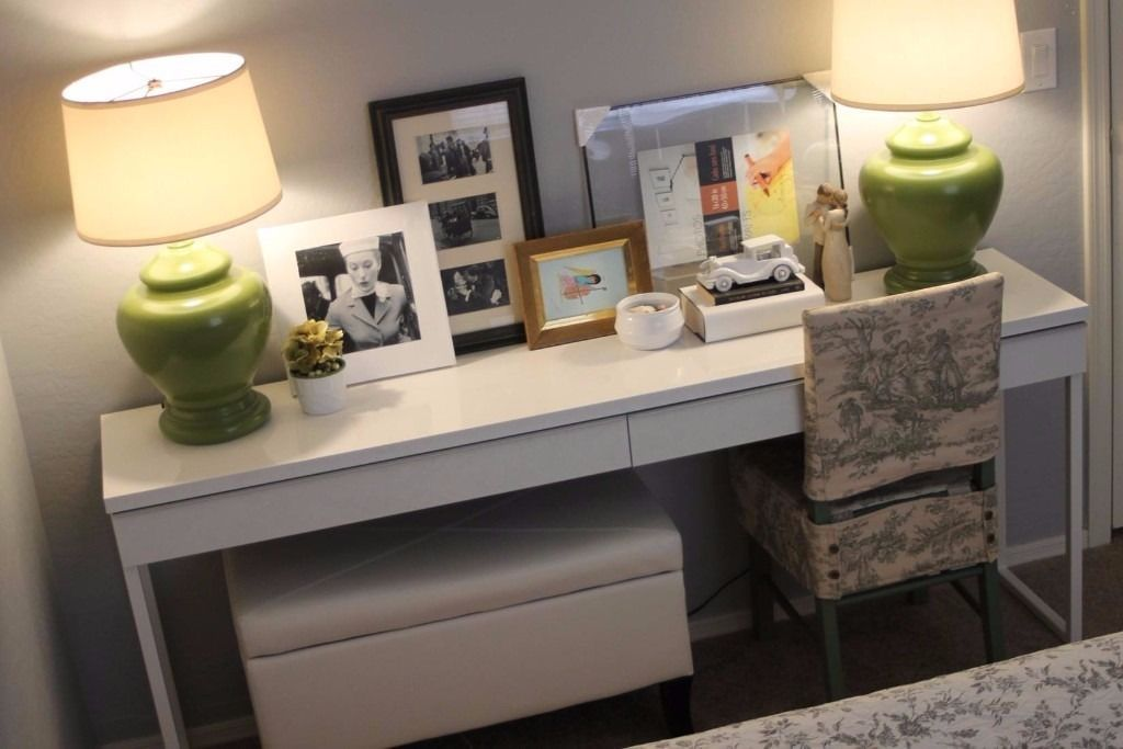 desk used as vanity. IKEA  Besta Burs can be used as a desk vanity table or console