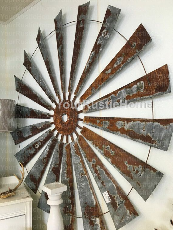 60 Rustic Vintage Windmill Country Barn Farmhouse Wall Decor Head Fan
