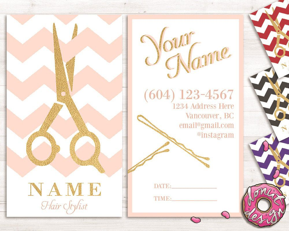 Gold Custom Hair Stylist And Salon Business Appointment Card Template // Printable // Digital By