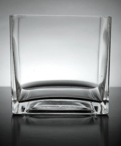 12 Clear Glass 5 Square Vases