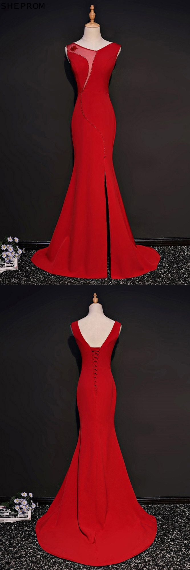 Unique red fitted mermaid formal dress with slit mqd
