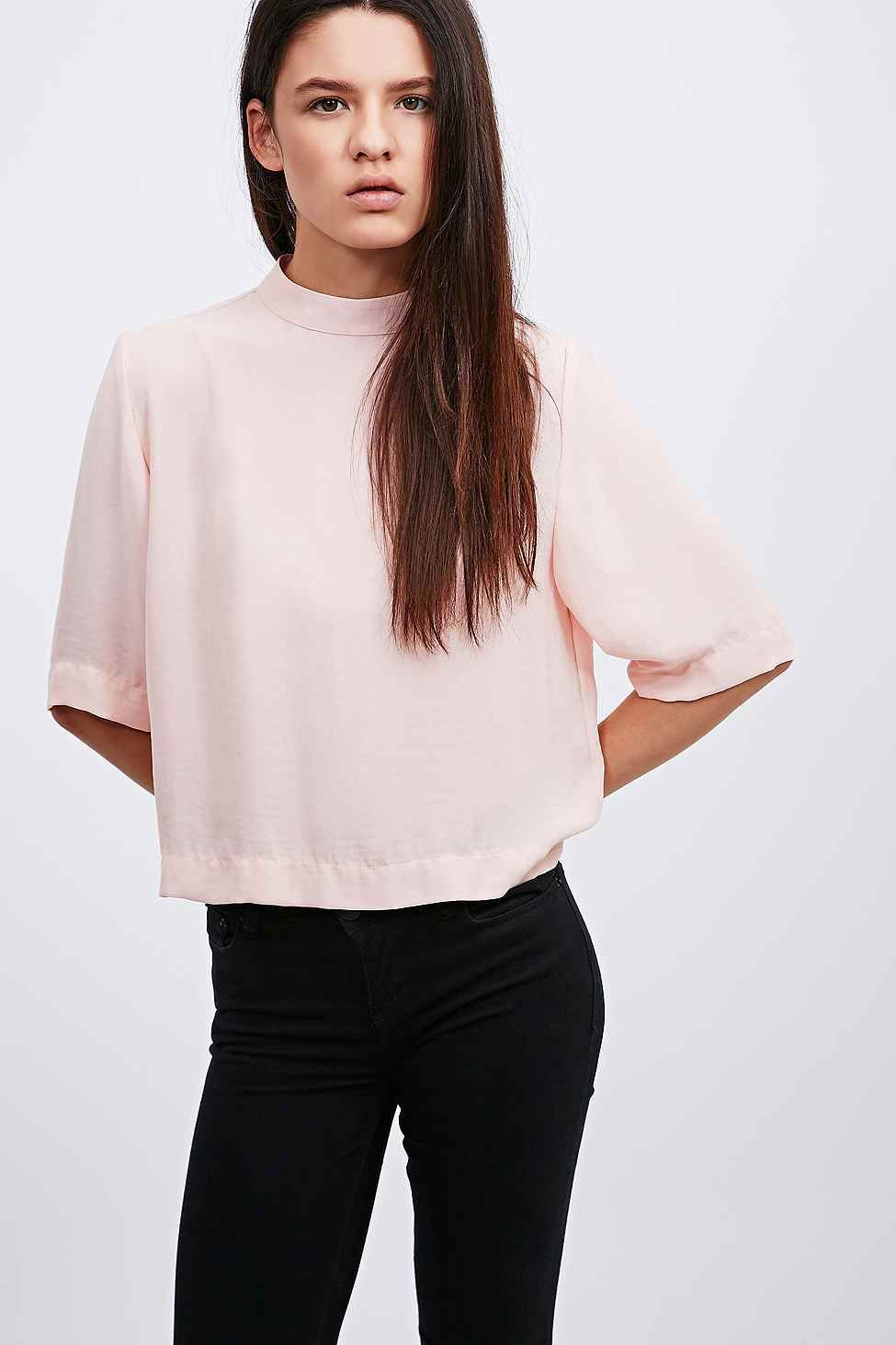 Light Before Dark Relaxed Funnel Top in Pink - Urban Outfitters