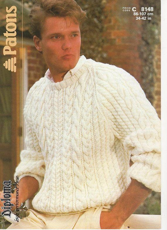 Mens Aran Jumper Mens Aran Sweater Mens Knitting Pattern Mens