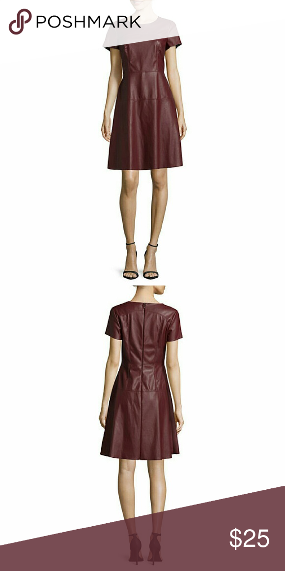 Worthington Vegan Leather Dress in Oxblood SZ 4 This is a like new, worn once, fit and flare Worthington faux vegan leather dress. The color is oxblood, which is unusual and beautiful. Universally flattering shape. Rounded neckline. Short sleeves. Hidden backzip. Size 4. Worthington Dresses