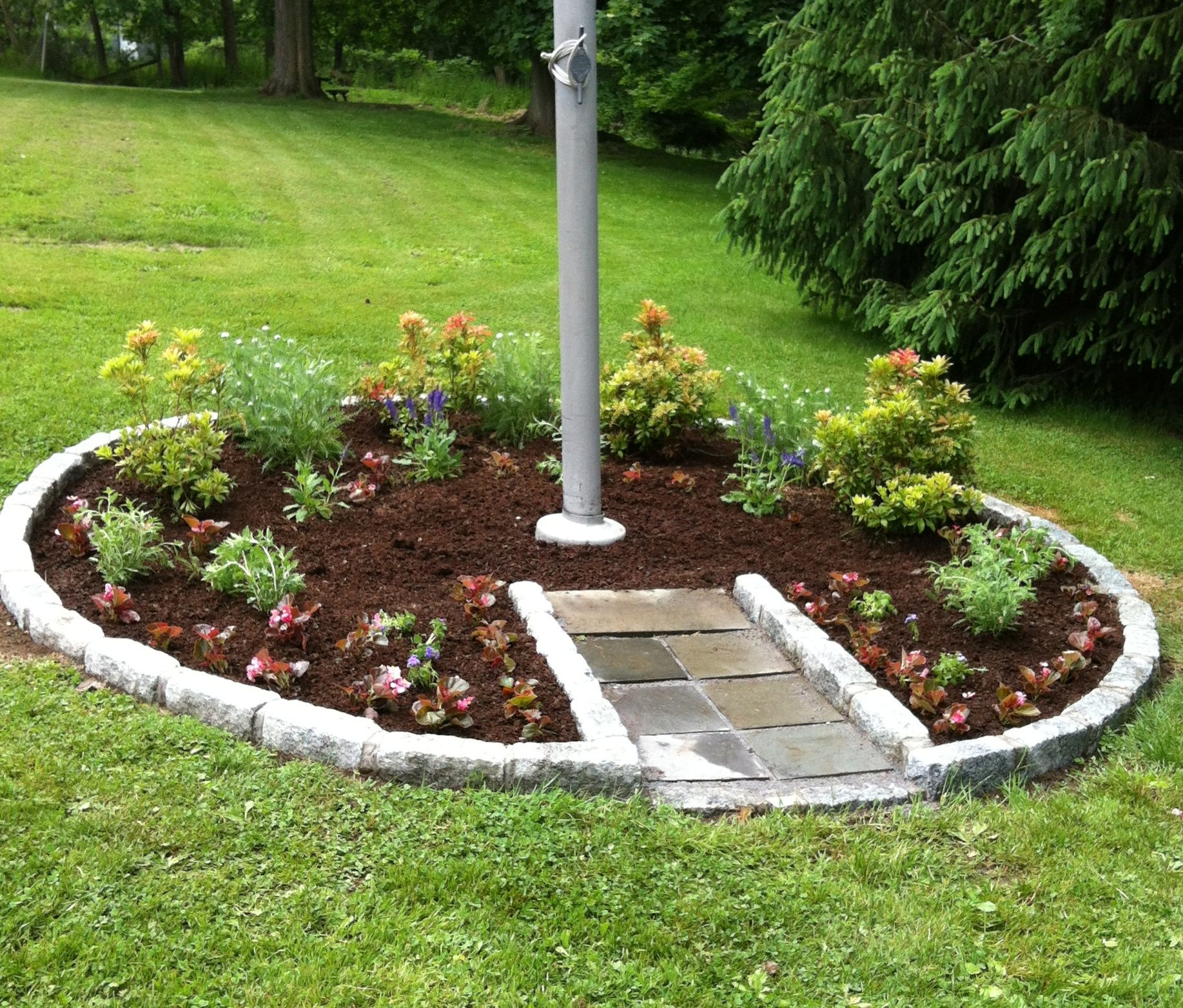Landscaping With Flag Pole Google Search Garden Poles Front Yard Landscaping Backyard Landscaping