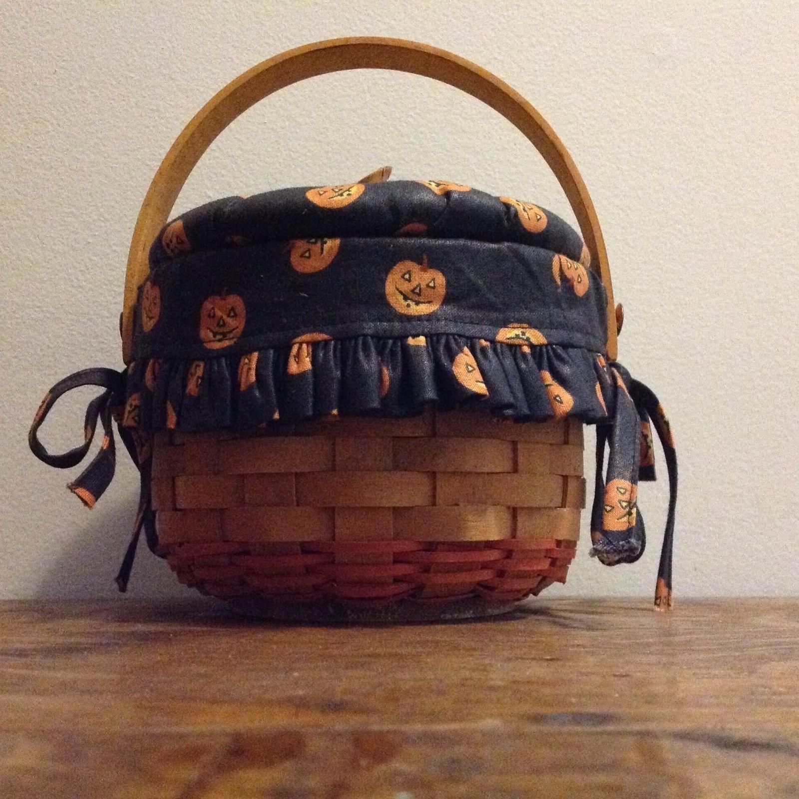 Longaberger Halloween 1997 Pumpkin Little Basket, Boo Liner ...