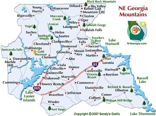Ne Georgia Mountains Travel Region Map Eastern Seaboard Trips