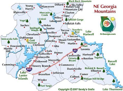 Ne Georgia Mountains Travel Region Map Eastern Seaboard
