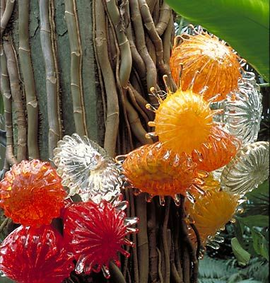 """Tree Urchins"" by Dale Chihuly. 2002, at Garfield Park Conservatory, Chicago."