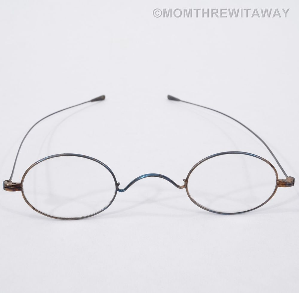 79e264fe26c Antique 1800 s Oval WIRE Rim Children s EYEGLASSES Display Collector LONG  Arm Eye Glasses