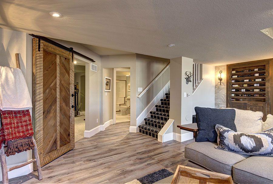 Basement Stairs Barn Door Basement In 2019 Basement