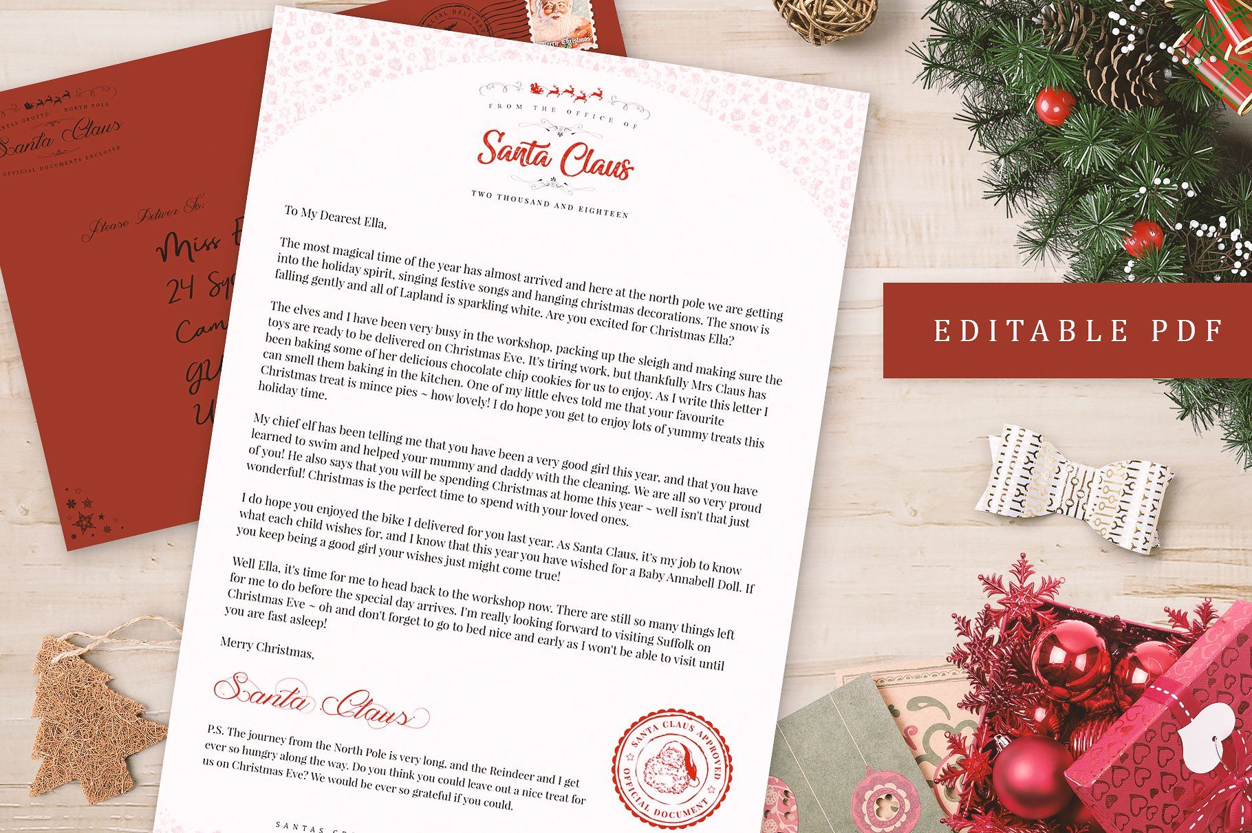 Editable Letter From Santa PDF PSD