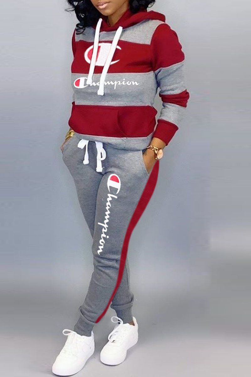 Embroidered Stripe Print Hooded Collar Top & Pants in 2020