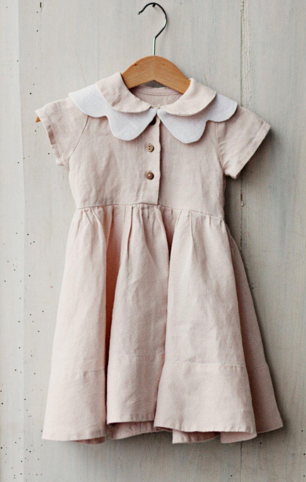 21756dc3a Girls Handmade Vintage Style Linen Dress & Butterfly Collar   SondeflorShop  on Etsy