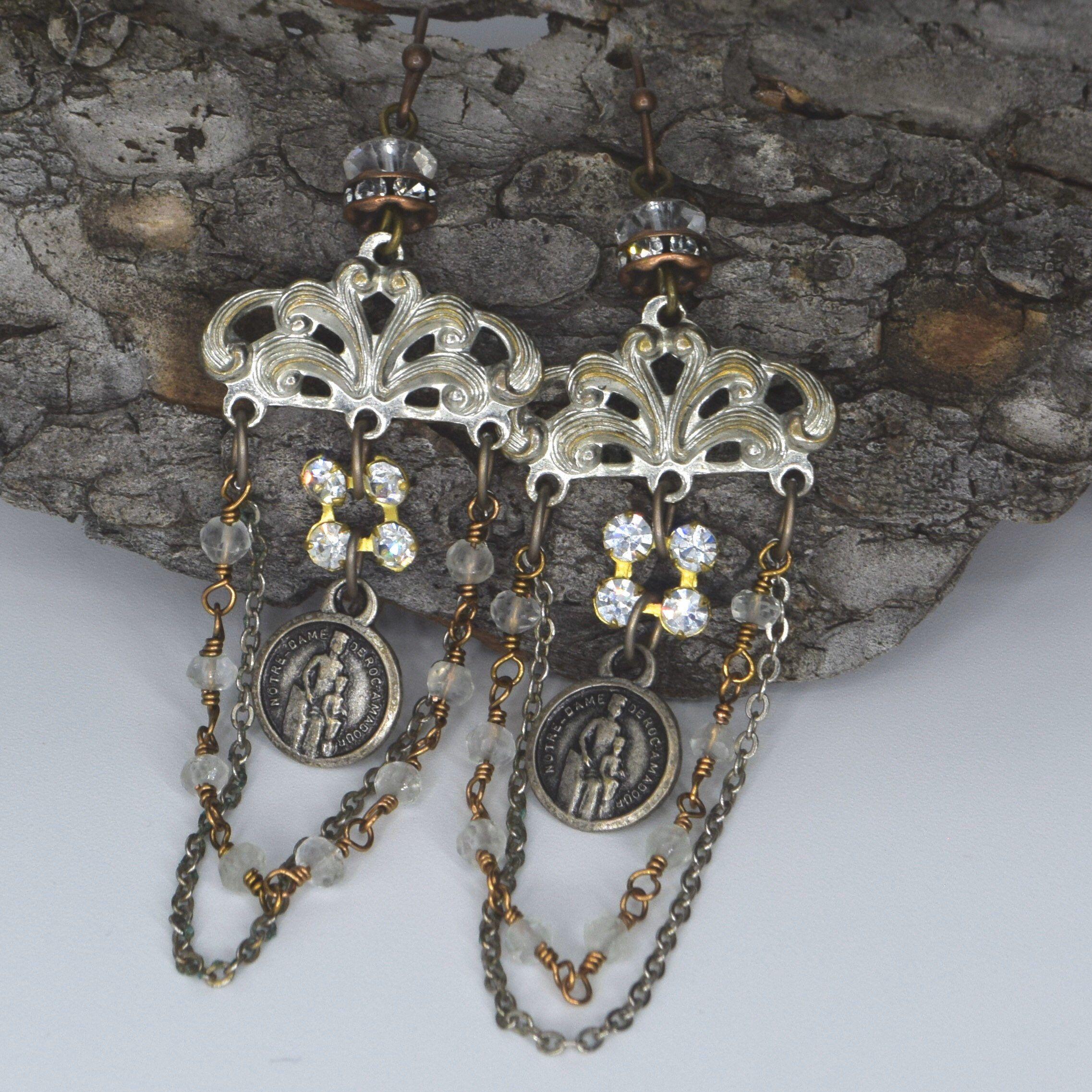 Religious Medal Chandelier Earrings, Vintage Rhinestone Chandelier Earrings #vintagerhinestone