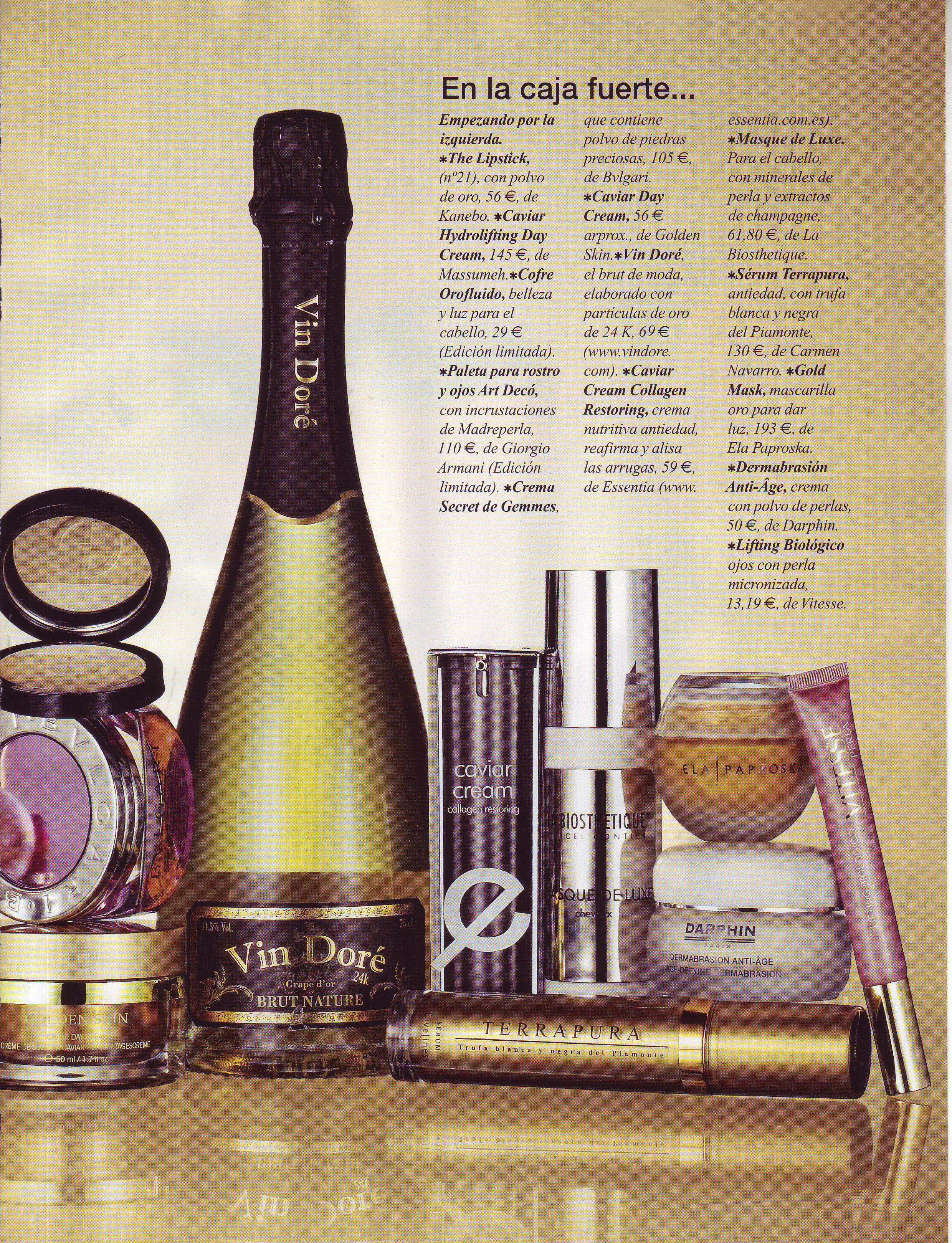 La revista Belleza Mía recomienda Vin Doré 24K