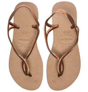 7f0c2cf57 Luna flip flop by Havaianas. Rubber upper and sole. Metallic straps.  HAVA-WZ148. 4129697. Summer maybe be gone here in the Sta.