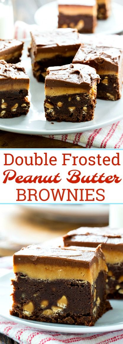 Double Frosted Peanut Butter Brownies #chocolate #peanutbutter #brownies