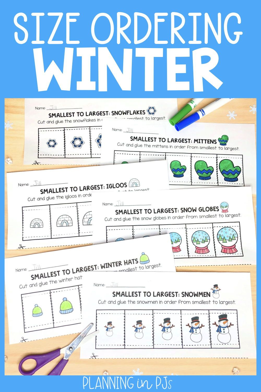 Winter Size Ordering Bundle From Smallest To Largest Elementary Math Winter Theme Kindergarten Games