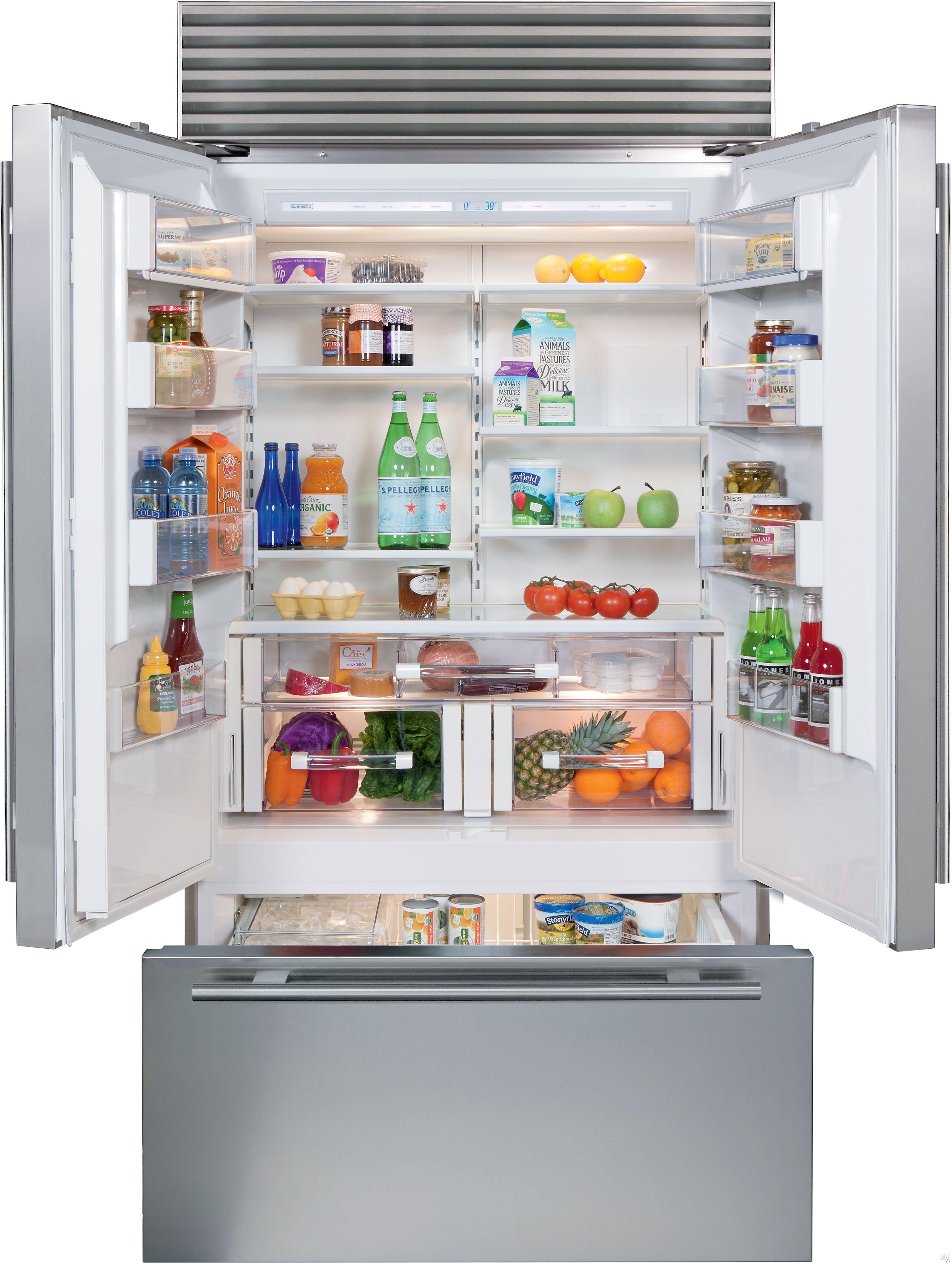 Sub Zero Bi42ufdidsph 42 Inch Built In French Door Refrigerator With 24 7 Cu Ft Capacity Adjustable Shelving Dual Refrigeration Air Purification Sabbath M French Door Refrigerator French Doors Fridge French Door