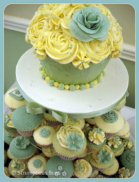 Pistachio & Ivory Wedding Cupcake Tower | Large cupcake, Cake and ...