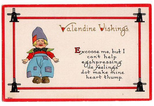 Vintage Valentine Postcard Dutch Boy Windmill Border 1910s Embossed