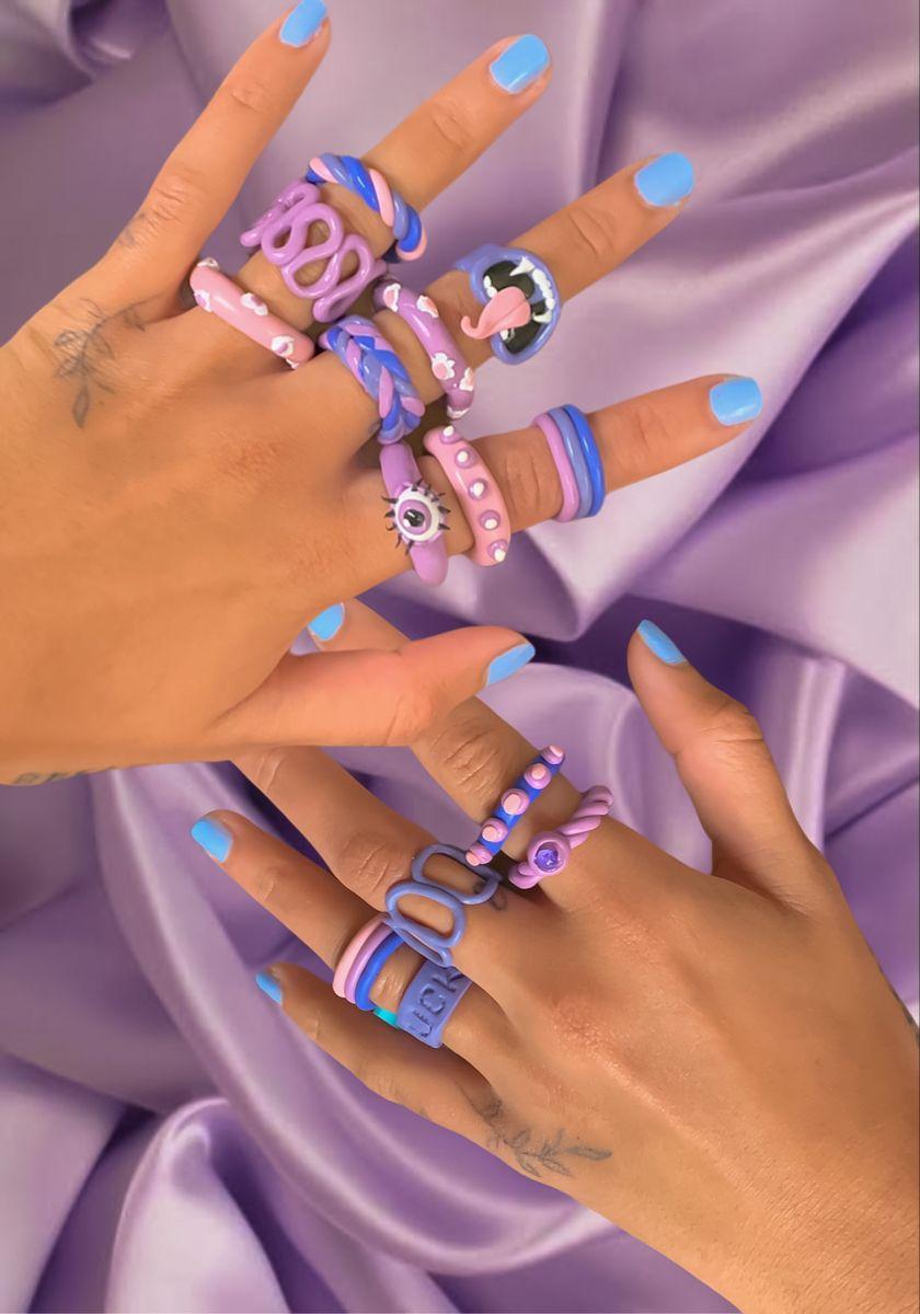 Funky indie clay rings