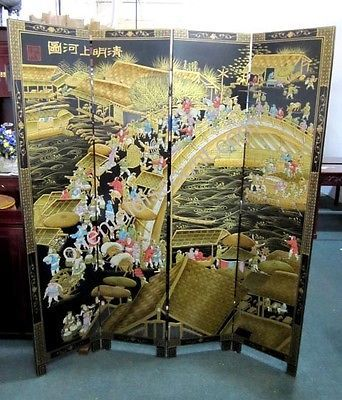 Details about famous qing ming dynasty screen room divider for Biombos oficina baratos